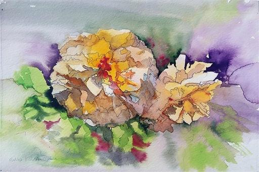 "Galina VINDALOVSKAIA - Drawing-Watercolor - ""Sunny roses"" original watercolor painting"