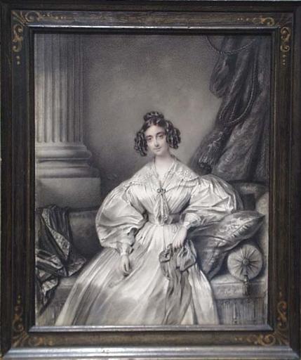"""Johannes NOTZ - Dessin-Aquarelle - """"Portrait of Lady Farghar"""", 1835"""