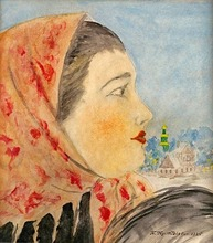 Boris Mikhailovich KUSTODIEV - Drawing-Watercolor - Profile of a Peasant Woman