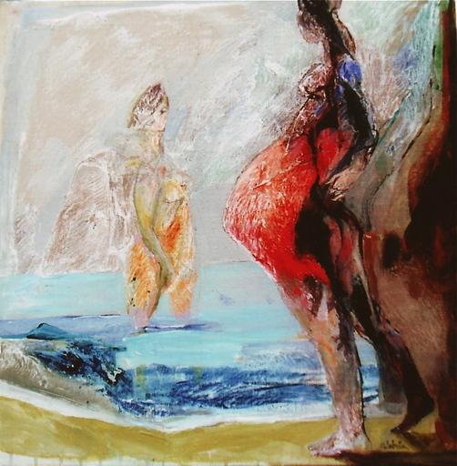 Ennio CALABRIA - Painting - Gestante al mare