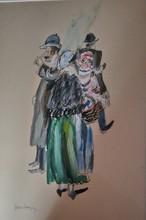 Jean POUGNY - Dibujo Acuarela - La sainte famille