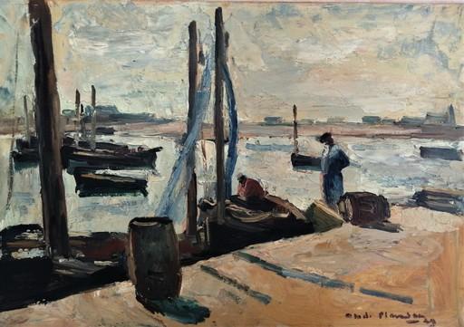 André PLANSON - Painting - Port animé en Bretagne