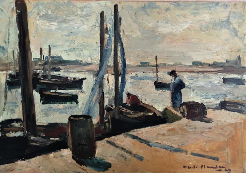 André PLANSON - Pintura - Port animé en Bretagne