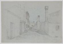 "Thomas LEITNER - Dibujo Acuarela - ""In an Italian Village"", 1906, Drawing"