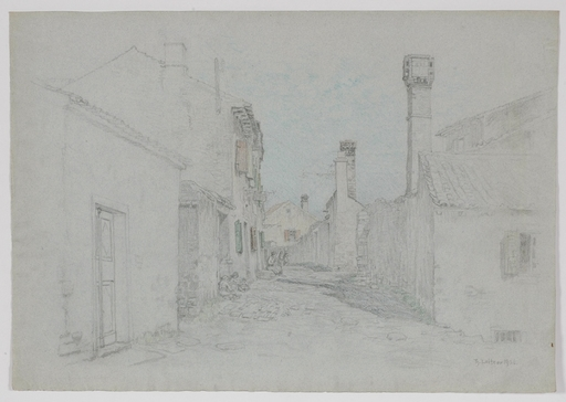 "Thomas LEITNER - Drawing-Watercolor - ""In an Italian Village"", 1906, Drawing"