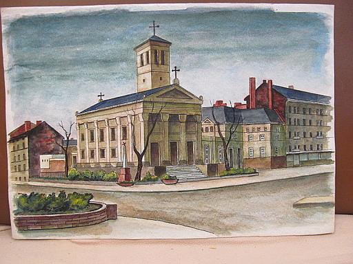 Walter KOHLHOFF - Disegno Acquarello - St. Pauls-Kirche, Berlin-Gesundbrunnen