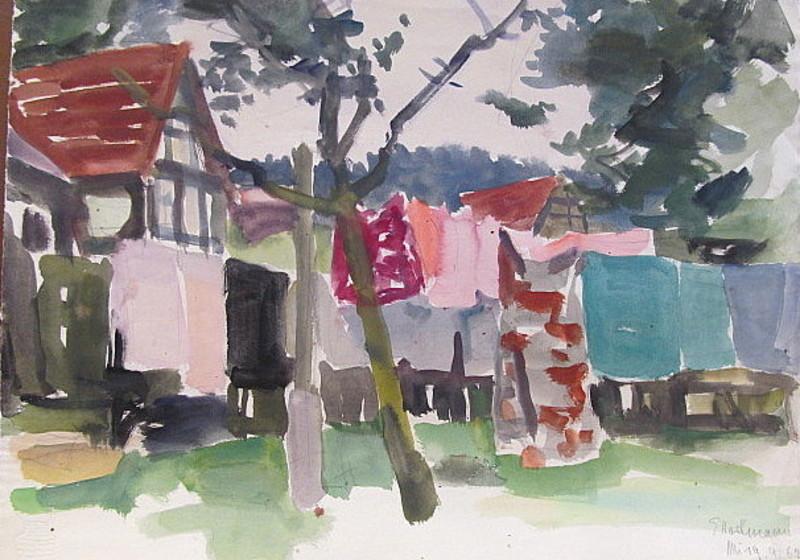Erich HARTMANN - Disegno Acquarello - Wäsche im Garten auf der Leine.