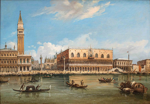 Carlo GRUBACS - Gemälde - View with the San Marco Basin and Palazzo Ducale