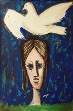 Bernard LORJOU - Pintura - Femme a la Colombe (Woman Has the Dove)