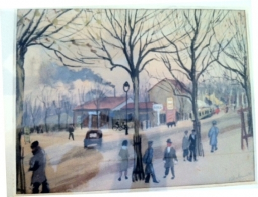 Abraham WEINBAUM - Drawing-Watercolor - Figuers in the Street