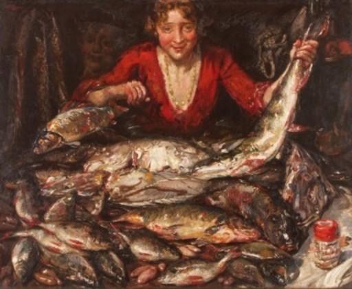 Martin MONNICKENDAM - Pintura - Fischverkäuferin