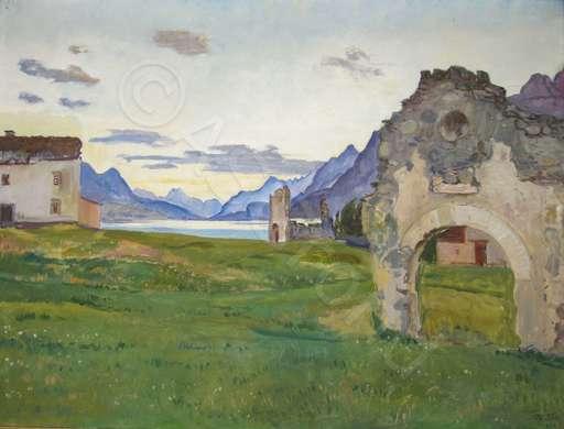 Adolphe TIECHE - Painting - Silsersee - Die Ruinen von Surlej bei Silvaplana    Öl
