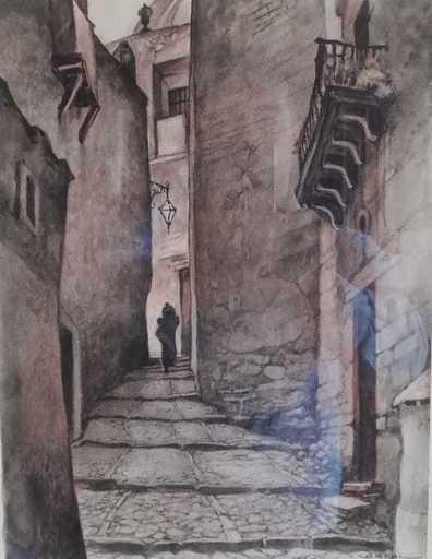 Ernesto GARCIA CABRAL - Dibujo Acuarela - Escalinatas en Guanajuato