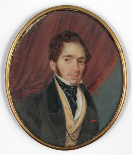 "Jean-Baptiste PARELLE - Disegno Acquarello - ""Portrait of a Gentleman"" miniature, 1828"