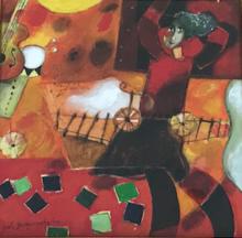 Yoel BENHARROUCHE - Pintura - UN PETIT TRAIN QUI TRAVERSE L'ESPACE DE MES REVES....