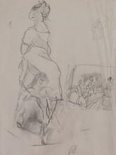 Jules PASCIN - Drawing-Watercolor - Seated Woman and People around a Table