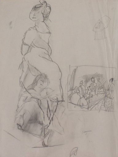 Jules PASCIN - Dibujo Acuarela - Seated Woman and People around a Table