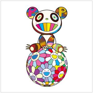 Takashi MURAKAMI - Grabado - Atop a Ball of Flowers, a Panda Cub Sits Properly