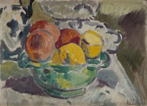 Louis VALTAT - Painting - Coupe de fruits sur un entablement