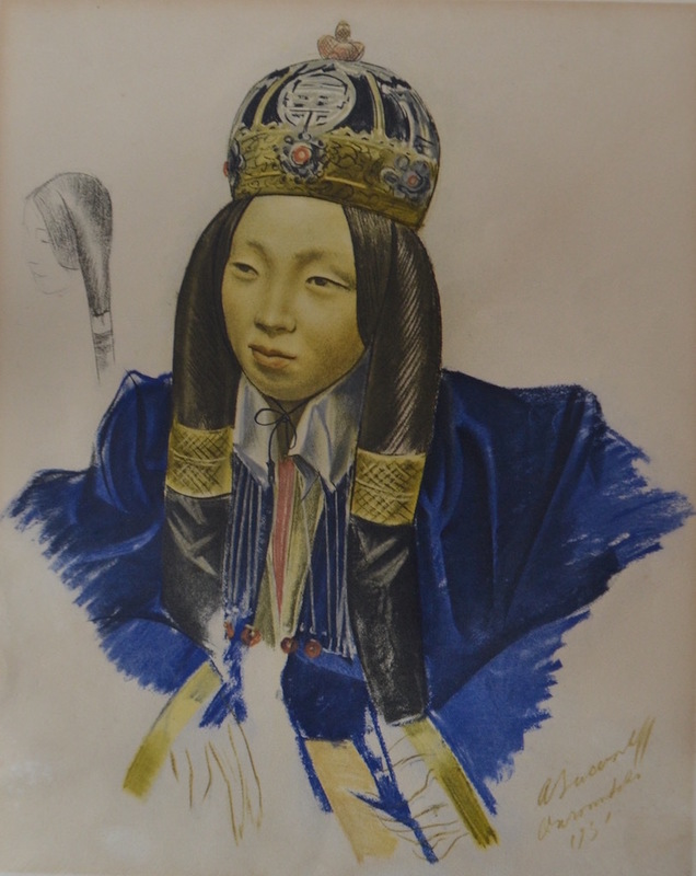 Alexander Evgenevich IACOVLEFF - Grabado - Asian girl (from the series of the drawings during expeditio