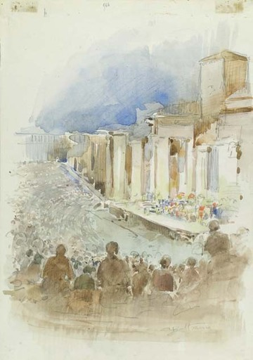 Achille BELTRAME - Drawing-Watercolor - REPRESENTATION PERFORMED IN AN OPEN AIR THEATRE