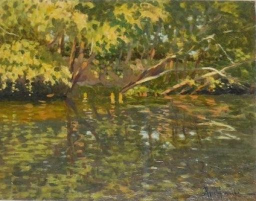 Attilio GUFFANTI - Gemälde - Bord de rivière fleurie