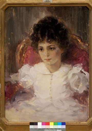Valentin A. SEROV - Pintura - Portrait of a sitting young girl in a pink dress