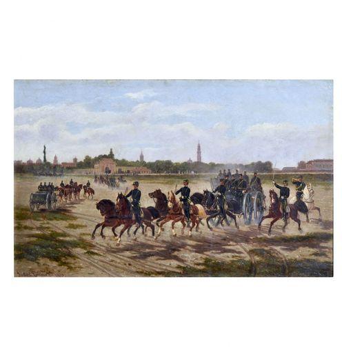 Enrico SARTORI - Gemälde - Manovre di cavalleria a Parma