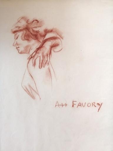 André FAVORY - Drawing-Watercolor - étude de visage