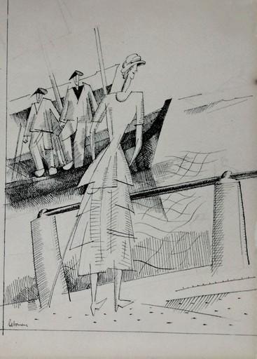 Jean Émile LABOUREUR - Dibujo Acuarela - Jeune fille sur le port du Croisic
