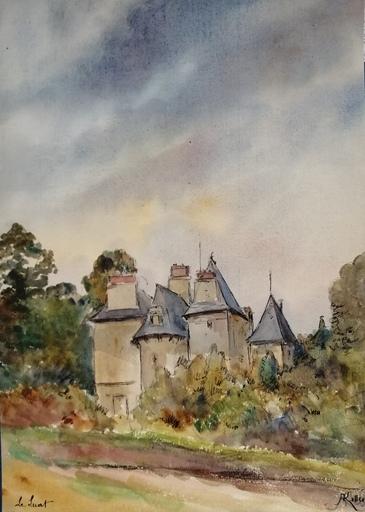 Alfred KELLER - Dibujo Acuarela - Le Luat - Chateau - Val d'Oise