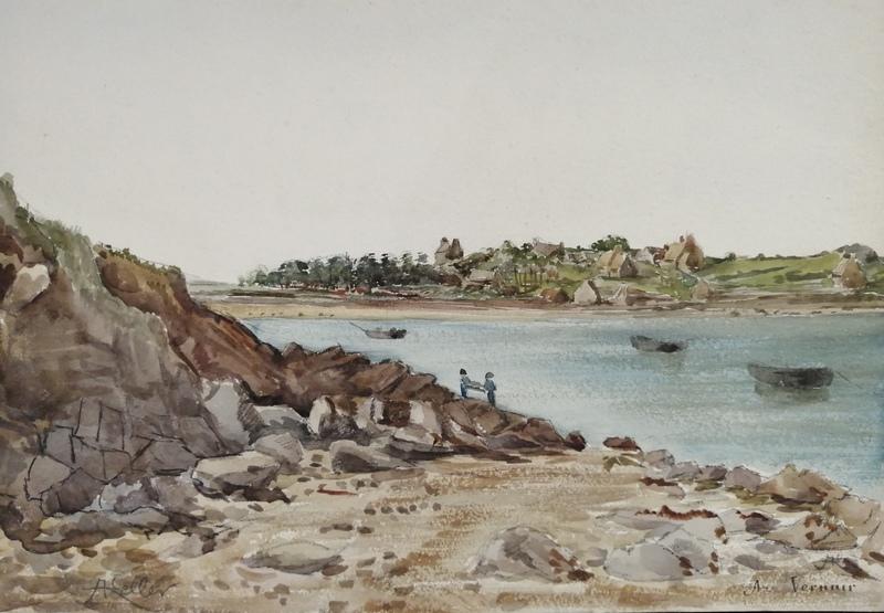 Alfred KELLER - Dibujo Acuarela - Un coin du Finistère - (KP27)