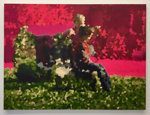 Arik LEVY - 绘画 - Minealized painting - two kids in the garden