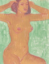 Theo MEIER - Pintura - Acte féminin balinais