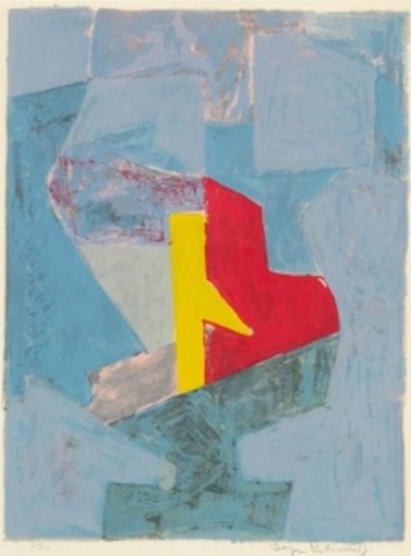 Serge POLIAKOFF - Print-Multiple - Composition Bleue, Jaune et Rouge n°18