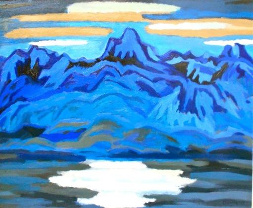 Henri CLAUSEN - Painting - Blue mountains. Montagne bleu