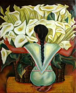 Orchids, Oil on canvas, Mexican 20th Century, Diego Rivera by