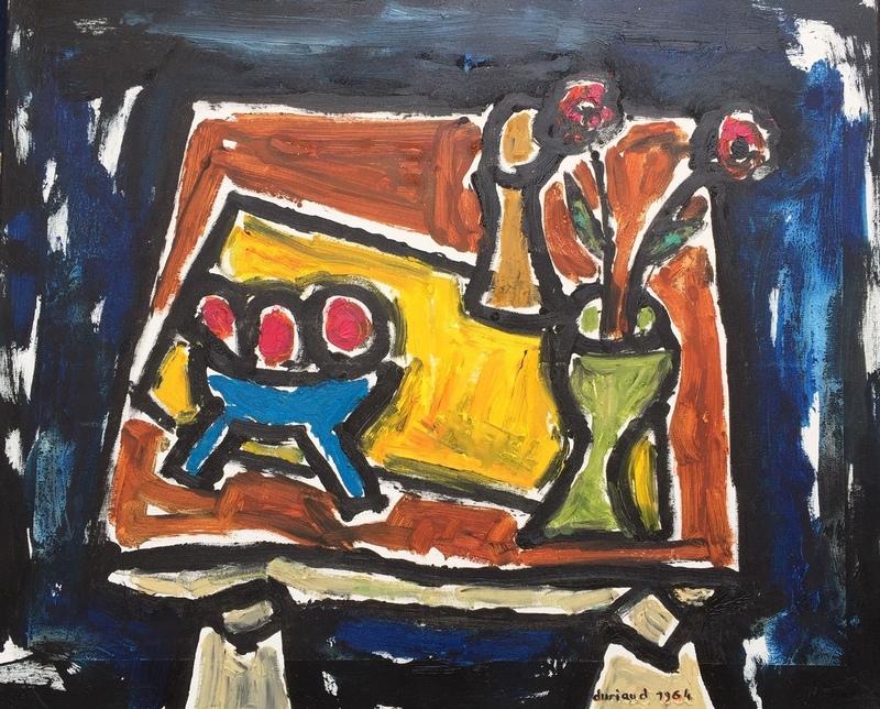 Christian DURIAUD - Pintura - 2 fleurs er 3 oranges