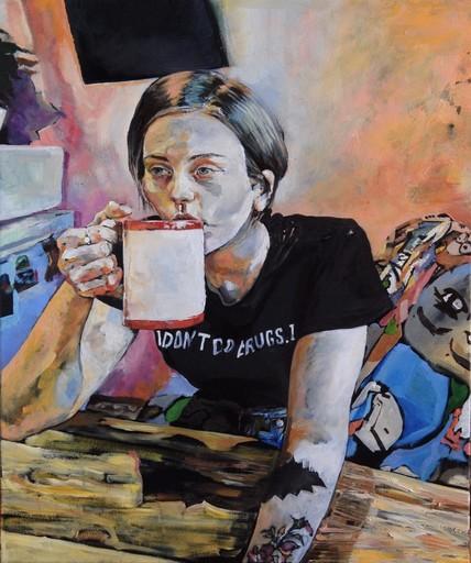 Sophie BOKSER - Peinture - Katya, who brought a black canvas in my house