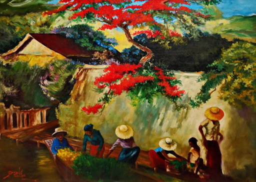 Raden Basoeki ABDULLAH - Painting - Flamboyant By the Village's River