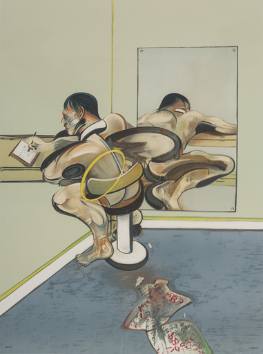 Francis BACON - Stampa-Multiplo - Figure writing reflected in a mirror
