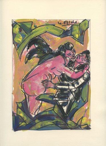 Yvette ALDE - Dibujo Acuarela - 4 DESSINS GOUACHE 1967 SIGNÉ À LA MAIN 4 HANDSIGNED DRAWINGS