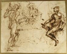 Daniele CRESPI - Dibujo Acuarela - Trois études de figures