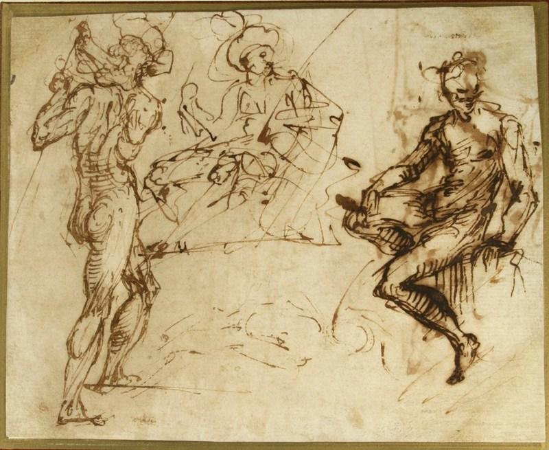 Daniele CRESPI - Drawing-Watercolor - Trois études de figures
