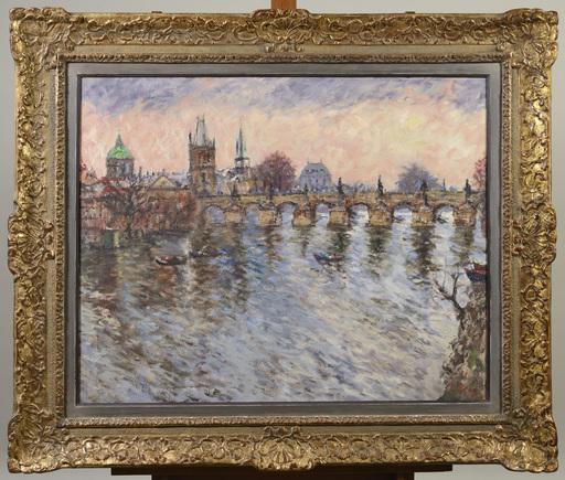 Vincenc BENES - Pintura - A VIEW OF PRAGUE WITH CHARLES BRIDGE
