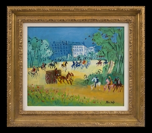 Jean DUFY - Peinture - Calèches et Cavaliers
