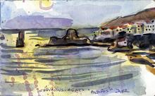 Jean-Pierre CHEVASSUS-AGNES - Drawing-Watercolor - lever du soleil sur ANDROS  CYCLADES  GRECE (2)