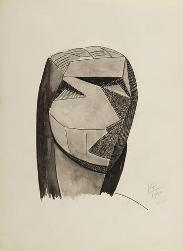 Julio GONZALEZ - Dessin-Aquarelle - Tête cubiste