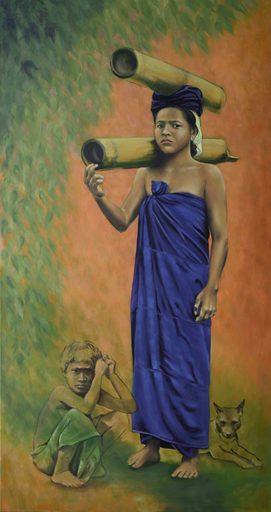 Regine FREISE - Pintura - « Batak Karo, fille avec bambou »