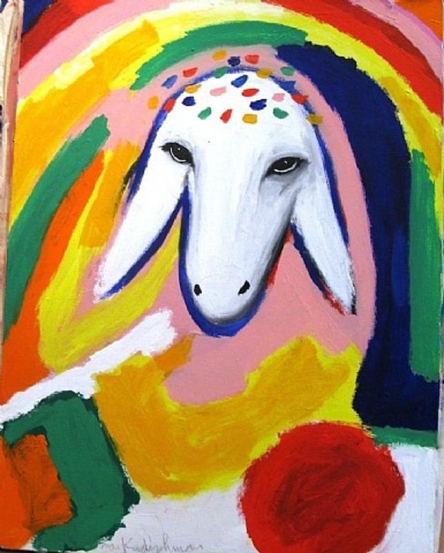 Menashe KADISHMAN - Painting - Sheep Portrait with Rainbow